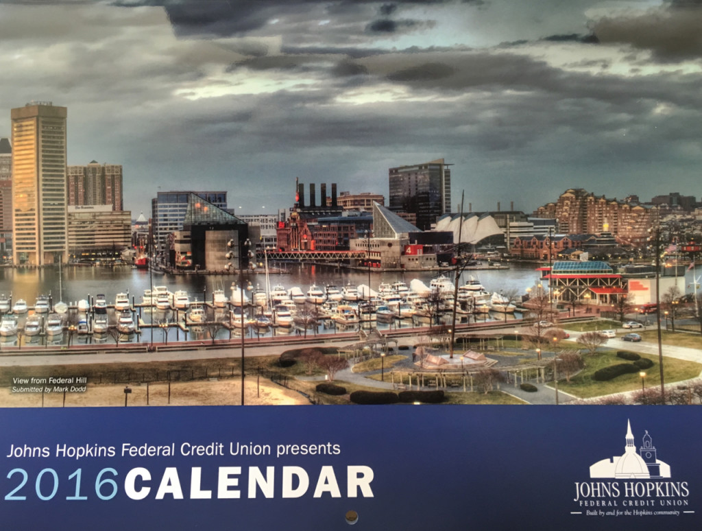 JHFCU 2016 Calendar with a cropped portion of my Baltimore Inner Harbor Panorama