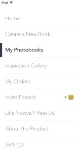 Home , Create a New Book, My Photobooks, Inspiration Gallery, My Orders, Invite Friends, Like Nowvel? Rate Us!, About the Product, and Settings.