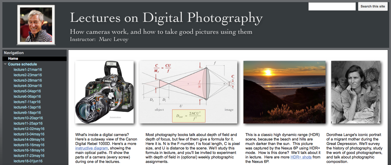 Free Online 11-Week Digital Photography Course by Former Stanford Professor